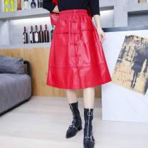 skirt Autumn 2020 M,L,XL,2XL,3XL Red, black Mid length dress sexy High waist A-line skirt Solid color Type A Sheepskin Other / other Sheepskin Button, don button