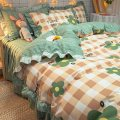 Bedding Set / four piece set / multi piece set Polyester (polyester fiber) other Plants and flowers 128x68 Mao Chun Xiang fabric Polyester (polyester fiber) 4 pieces 40 Sheet bed skirt Qualified products Korean style Reactive Print  other