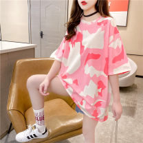 T-shirt Camouflage Pink M L XL Spring 2021 Short sleeve High collar easy Medium length routine commute polyester fiber 86% (inclusive) -95% (inclusive) 18-24 years old Korean version youth Love Mengwei Polyester 95% polyurethane elastic fiber (spandex) 5% Exclusive payment of tmall