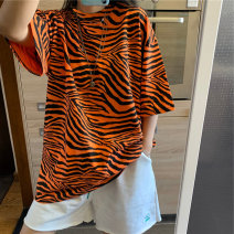 T-shirt Orange green white M L XL Spring 2021 Short sleeve Crew neck easy Medium length routine commute polyester fiber 86% (inclusive) -95% (inclusive) 18-24 years old Korean version youth Love Mengwei 2806-2 Polyester 95% polyurethane elastic fiber (spandex) 5% Exclusive payment of tmall