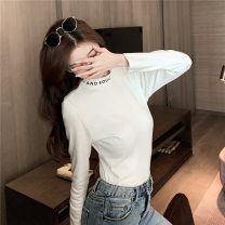 T-shirt White black M L XL XXL Autumn 2020 Long sleeves Half high collar Self cultivation Regular routine commute polyester fiber 86% (inclusive) -95% (inclusive) 18-24 years old Korean version youth Love Mengwei J054 Polyester 95% polyurethane elastic fiber (spandex) 5% Exclusive payment of tmall