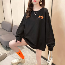Women's large Autumn 2020 M L XL T-shirt singleton  commute easy moderate Socket Long sleeves Korean version Medium length printing and dyeing bishop sleeve Love Mengwei 18-24 years old tie-dyed 96% and above Polyester 95% polyurethane elastic fiber (spandex) 5% Exclusive payment of tmall