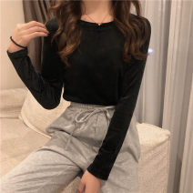 T-shirt M L XL Winter 2020 Long sleeves Crew neck Self cultivation Regular routine commute polyester fiber 86% (inclusive) -95% (inclusive) 18-24 years old Korean version youth Love Mengwei Polyester 95% polyurethane elastic fiber (spandex) 5% Exclusive payment of tmall