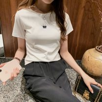 T-shirt Rose red gray white black purple M L XL XXL Summer 2020 Short sleeve Crew neck Self cultivation Regular routine commute polyester fiber 86% (inclusive) -95% (inclusive) 18-24 years old Korean version youth Love Mengwei Polyester 95% polyurethane elastic fiber (spandex) 5%