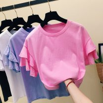 T-shirt 425 * rose red 425 * purple 425 * white 607 black 607 white M L XL 2XL Summer of 2019 Short sleeve Crew neck easy Regular Lotus leaf sleeve commute hemp 96% and above 18-24 years old lady classic Solid color Lian Zhilin 425X7YJ Flax 100%