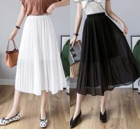 skirt Spring 2020 Average size White, black, apricot Mid length dress victoria High waist A-line skirt Solid color Type A 25-29 years old 3-6921 Old, gauze