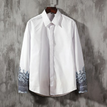 shirt Youth fashion Others White, black routine Pointed collar (regular) Long sleeves Self cultivation Other leisure autumn youth Chinese style 2019 washing polyester fiber Embroidery
