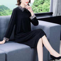 Women's large Spring 2021 black M L XL 2XL 3XL 4XL Dress singleton  commute easy moderate Socket Long sleeves Solid color Retro Polo collar Three dimensional cutting other Mengshayan 40-49 years old Medium length Other 100% Exclusive payment of tmall