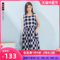 Nightdress Devimo Blue-24482 M L XL XXL Simplicity Sleeveless Leisure home Middle-skirt summer lattice youth Crew neck other 61% (inclusive) - 80% (inclusive) Woven cotton fabric DA24482DA 200g Summer 2020 Modal fiber (modal) 78.1% cotton 21.9% Same model in shopping mall (sold online and offline)