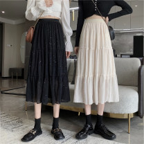 skirt Summer 2021 Average size Apricot, black Mid length dress commute High waist A-line skirt other Type A Under 17 P 81% (inclusive) - 90% (inclusive) other other Sequins Korean version
