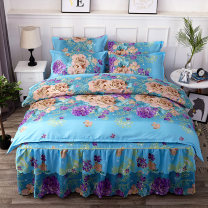 Bedding Set / four piece set / multi piece set Polyester (polyester fiber) other Plants and flowers 128x68 Instant comfort Others 4 pieces 60 Sheet type, fitted sheet type, bed skirt type, bedspread type First Grade Countryside Sanding Reactive Print  Four piece fitted bed skirt Thermal storage