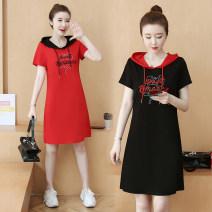 Dress Summer 2021 Red, black S,M,L,XL,2XL,3XL,4XL,5XL Miniskirt singleton  Short sleeve commute Hood letter routine Type H Korean version Embroidery cotton
