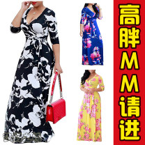 Dress Spring of 2018 S,M,L,XL,2XL,3XL,4XL,5XL,XXL,XXXL longuette singleton  Long sleeves commute V-neck High waist Decor Socket Big swing routine Others Type A Print, lace up 81% (inclusive) - 90% (inclusive) other polyester fiber