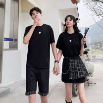 T-shirt Youth fashion Men's clothes men's clothes + shorts women's dress thin S M L XL 2XL 3XL Seven tides and eight tides Short sleeve Crew neck Self cultivation Other leisure summer GT999 Cotton 75% polyester 20% polyurethane elastic fiber (spandex) 5% Couples dress routine tide Cotton wool cotton