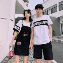 T-shirt Youth fashion Men's T-shirt, men's T-shirt + pants, women's T-shirt + suspender skirt thin S M L XL 2XL 3XL Seven tides and eight tides Short sleeve Crew neck Self cultivation Other leisure summer BK191 Cotton 75% polyester 20% polyurethane elastic fiber (spandex) 5% Couples dress routine