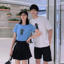 T-shirt Youth fashion Men's T-shirt, women's T-shirt, men's clothes + shorts, women's T-shirt + skirt thin S M L XL 2XL 3XL Seven tides and eight tides Short sleeve Crew neck Self cultivation Other leisure summer BK55 Cotton 75% polyester 20% polyurethane elastic fiber (spandex) 5% Couples dress tide