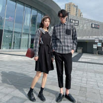 shirt Youth fashion Seven tides and eight tides S M L XL 2XL 3XL Men's shirt, men's shirt + pants, women's dress routine square neck Long sleeves Self cultivation Other leisure autumn lovers Polyester 75% cotton 25% tide 2020 lattice Plaid Autumn 2020 No iron treatment Splicing
