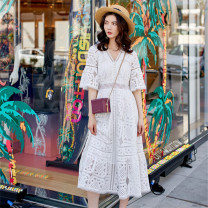 Dress Summer 2020 Moonshine spot, moonshine reservation S,M,L longuette singleton  Short sleeve street V-neck High waist Solid color Socket Big swing pagoda sleeve Others 18-24 years old Type X Lace, mesh, hollow 51% (inclusive) - 70% (inclusive) Lace cotton Europe and America