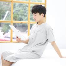 Pajamas / housewear set male Other / other M,L,XL Men's_ Grey, men's_ blue cotton Simplicity Leisure home summer Thin money Crew neck lattice double-breasted youth More than 95% pure cotton Button decoration longuette