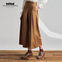 Casual pants KHK S M L Spring 2020 Ninth pants Wide leg pants Natural waist Versatile routine 20SPFFOCXX836 Initial belt Polyester 71% viscose 27% polyurethane elastic 2% Pure e-commerce (online only)