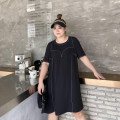 Women's large Summer 2021 black Large XL, large 2XL, large 3XL, large 4XL, large 5XL Dress singleton  commute moderate Socket Short sleeve Solid color Korean version polyester Xin Cun Zhen 25-29 years old Medium length