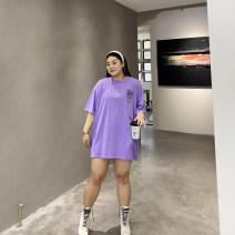 Women's large Summer 2021 Purple, white Big size average T-shirt singleton  commute moderate Socket Short sleeve Shape, solid color Korean version Crew neck Medium length cotton Xin Cun Zhen 25-29 years old