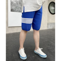 Women's large Summer 2021 Black, blue Large XL, large 2XL, large 3XL trousers singleton  commute moderate Stripe, solid color Korean version Cotton, others Xin Cun Zhen 25-29 years old Pant