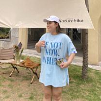 Women's large Summer 2021 Blue, white Big size average T-shirt singleton  commute moderate Socket Short sleeve Solid color, letter Korean version Crew neck Medium length cotton Xin Cun Zhen 25-29 years old
