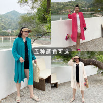 Women's large Spring 2021, summer 2021 Blue, army green, black, red, beige Big 2XL, big 3XL, big 4XL shirt singleton  commute moderate Cardigan Long sleeves Solid color Korean version Medium length other Xin Cun Zhen 25-29 years old 91% (inclusive) - 95% (inclusive)