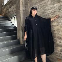 Women's large Spring 2021, summer 2021 black Big size average Dress singleton  commute moderate Socket three quarter sleeve Solid color Korean version other Xin Cun Zhen 25-29 years old Medium length