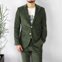 man 's suit Army green VERTEBRATE/ vertebrate Fashion City thick 48,50,52,54,56 Cotton 100% Self cultivation Double breasted Other leisure Double slit youth Long sleeves winter routine Simplicity in Europe and America Flat lapel Round hem Regular collar (collar width 7-9cm) Digging bags with lids