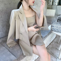 suit Autumn 2020 White, milk tea brown S,L,M Long sleeves have cash less than that is registered in the accounts easy tailored collar double-breasted commute routine Solid color 18-24 years old other Splicing