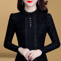 Lace / Chiffon Autumn of 2019 Black Plush M L XL 2XL 3XL 4XL Long sleeves commute Socket singleton  Self cultivation Regular stand collar Solid color routine 30-34 years old Cable drill (clothing) SZ1908L3074 Cut out embroidery hook cut out stitching pin bead lace Korean version
