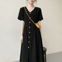 Dress Autumn 2020 Black red S M L XL longuette singleton  Short sleeve commute V-neck High waist Solid color Single breasted A-line skirt routine Others 18-24 years old Type A Retro Button 71% (inclusive) - 80% (inclusive) polyester fiber Pure e-commerce (online only)