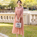 Dress Spring 2021 White pink S M L XL XXL XXXL 4XL Mid length dress singleton  Nine point sleeve commute Hood Loose waist Solid color Socket A-line skirt other Others 30-34 years old Type A Mu yanduo literature MM-06 More than 95% silk Mulberry silk 100% Pure e-commerce (online only)