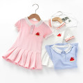 Dress White, violet female Other / other Cotton 90% other 10% summer college Short sleeve Solid color cotton Pleats 12 months, 18 months, 2 years old, 3 years old, 4 years old, 5 years old, 6 years old Chinese Mainland