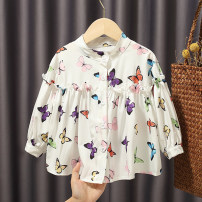 shirt Other / other female 90cm,100cm,110cm,120cm,130cm spring and autumn Long sleeves fresh Broken flowers cotton stand collar
