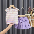 suit Other / other Pink top + trouser skirt, apricot Top + trouser skirt, purple top + trouser skirt, orange Top + trouser skirt, rainbow Top + shorts, orange stripe Top + shorts female summer fresh Sleeveless + pants 2 pieces routine Socket stripe Cotton and hemp children Travel YX2748 Other 100%