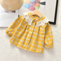 shirt Black, yellow, lovely pink, stain resistant blue, ocean yellow Other / other female 90cm, 100cm, 110cm, 120cm, 130cm, collection priority spring and autumn Long sleeves princess lattice cotton Lapel and pointed collar Cotton 85% others 15% YX20070