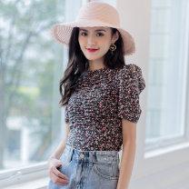 shirt Black flower Average size polyester fiber 71% (inclusive) - 80% (inclusive) A7C1026030