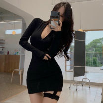 Dress Autumn 2020 Black, gray S,M,L Short skirt singleton  Long sleeves commute High waist Solid color Socket other routine 25-29 years old Korean version 51% (inclusive) - 70% (inclusive) knitting polyester fiber