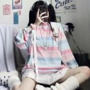 T-shirt Pink Blue Stripe M,L,XL Autumn 2020 Long sleeves Crew neck easy Medium length routine commute polyester fiber 86% (inclusive) -95% (inclusive) 18-24 years old Korean version youth
