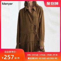 Dress Spring 2020 brown S M L XL Short skirt singleton  Long sleeves commute stand collar High waist Solid color Single breasted A-line skirt routine Others 30-34 years old Beautiful spring 2001C109 More than 95% polyester fiber Polyester 100% Pure e-commerce (online only)