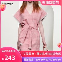 Dress Summer 2020 Pink S M L XL Mid length dress singleton  Short sleeve commute V-neck High waist zipper A-line skirt other Others 30-34 years old Beautiful spring lady 2002C022-2 More than 95% polyester fiber Polyester 100% Pure e-commerce (online only)