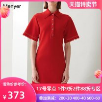 Dress Summer 2020 Red, dark blue S M L XL Mid length dress singleton  Short sleeve commute square neck High waist Solid color Single breasted A-line skirt other Others 25-29 years old Beautiful spring Simplicity More than 95% cotton Cotton 97% polyurethane elastic fiber (spandex) 3%