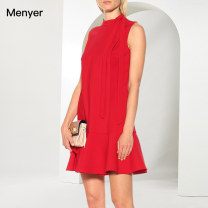 Dress Summer 2020 gules S M L XL Mid length dress singleton  Sleeveless commute stand collar High waist Solid color zipper A-line skirt other Others 25-29 years old Beautiful spring Simplicity 2002C041 More than 95% polyester fiber Polyester 100% Pure e-commerce (online only)