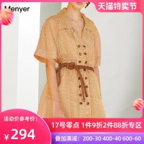 Dress Summer 2020 yellow S M L XL Mid length dress singleton  Short sleeve commute Crew neck High waist lattice Single breasted A-line skirt routine Others 30-34 years old Beautiful spring Simplicity 2002C026 More than 95% polyester fiber Polyester 100% Pure e-commerce (online only)