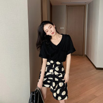 skirt Summer 2021 S,M,L black Short skirt Versatile High waist Irregular other Type A 18-24 years old HQ04614 other other