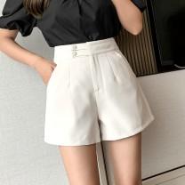 Casual pants Black, apricot S,M,L,XL Spring 2021 shorts Wide leg pants High waist commute Other / other Korean version