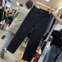 Jeans Spring 2021 660080 black single, black plush 660080-2, black Plush lengthened 660080-22660080 blue single S,M,L,XL,XXL Ninth pants Natural waist Straight pants routine Cotton elastic denim Dark color